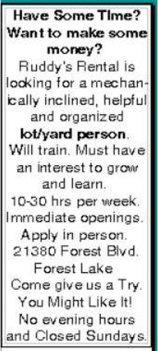 Lot/Yard Person Wanted