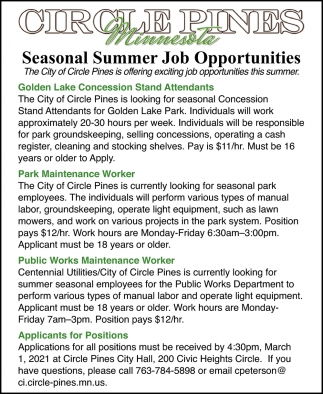 Seasonal Summer Job Opportunities