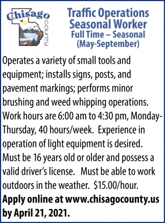 Traffic Operations Seasonal Worker