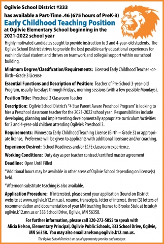 Early Childhood Teaching Position