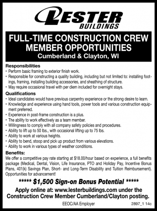 Full-Time Construction Crew Member Opportunities