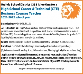 High School Career & Technical Business Courses Teacher