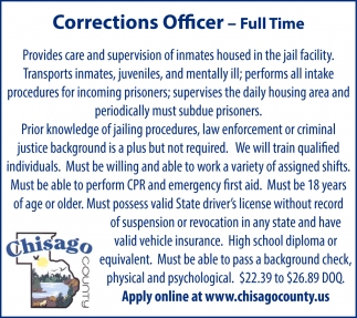 Corrections Officer - Full Time