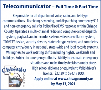 Telecommunicator - Full Time & Part Time
