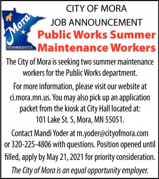 Public Works Summer Maintenance Workers