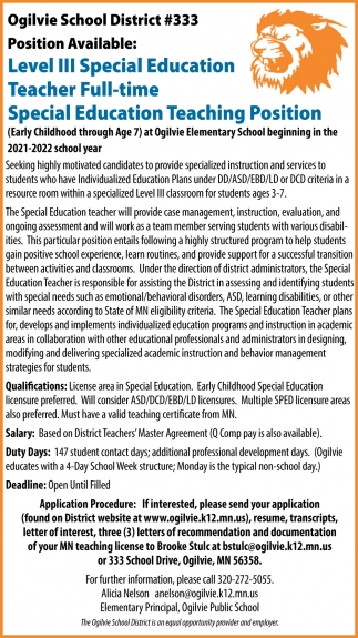 Level II Special Education Teacher Full Time