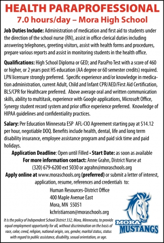 Health Paraprofessional Needed