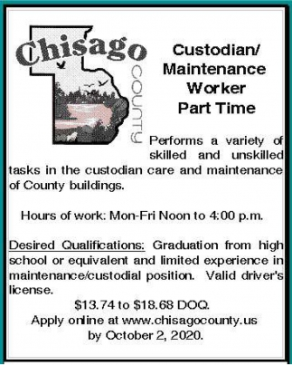 Custodian/Maintenance Worker Part Time