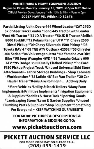 Winter Farm & Heavy Equipment Auction