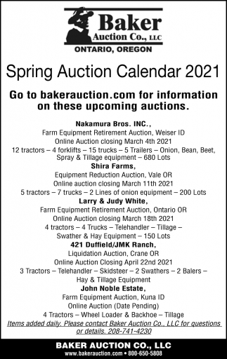 Spring Auction Calendar 2021