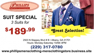 Suit Special, 3 Suits for $189.99