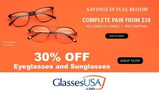 30% OFF Eyeglasses and Sunglasses