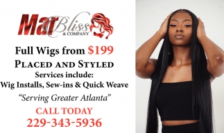 Full Wigs from $199 Placed and Styled