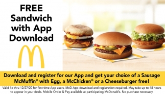 FREE Sandwich with App Dowlnad