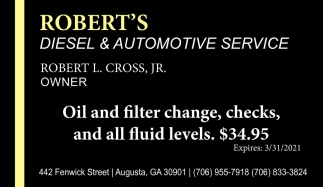 Oil and Filter Change, Checks, and All Fluid Levels. $34.95