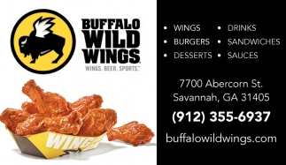 Wings, Drinks, Burgers, Sandwiches, Desserts, Sauces