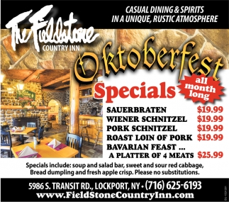 Oktoberfest Specials All Month Long