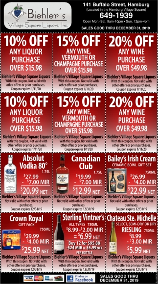 10% Off Any Liquor Purchase Over $15.98
