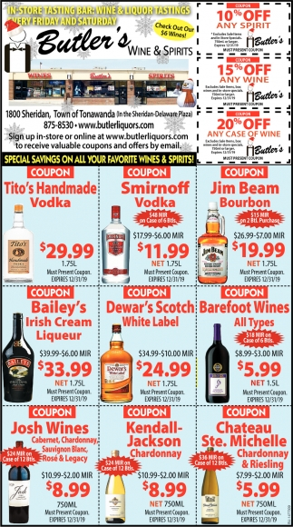 Special Savings On All Your Favorite Wines & Spirits!