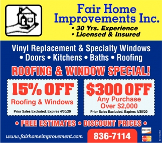 Roofing & Window Special!