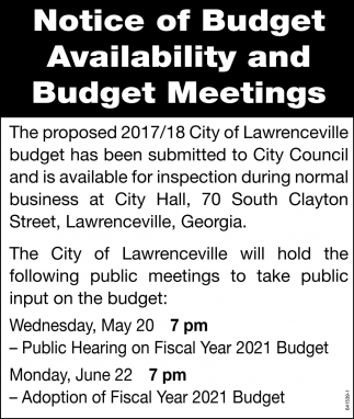 Notice of Budget Availability