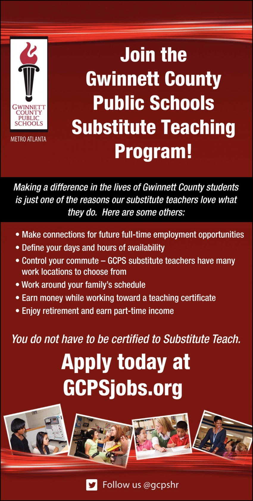 Join the Gwinnett County Public Schools Substitute Teaching Program!