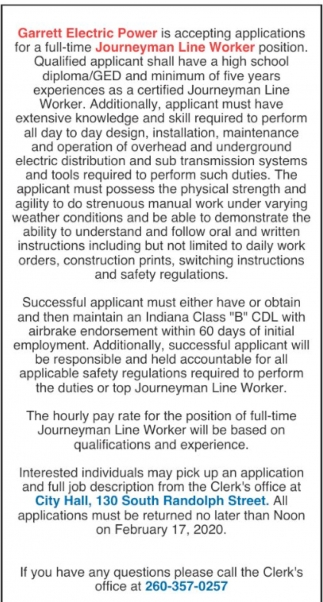 Journeyman Line Worker