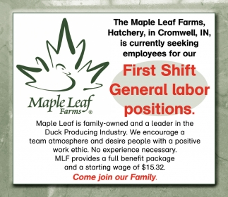 First Shift General Labor Positions