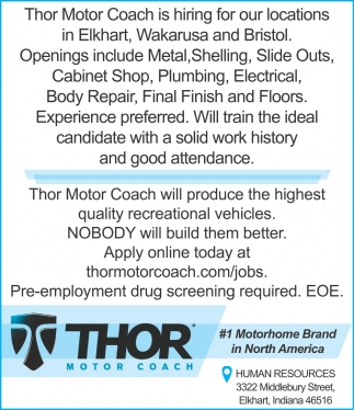 The Motor Coach is Hiring for Our Locations in Elkhart, Wakarusa and Bristol