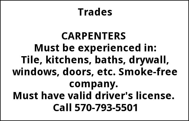 Carpenters Needed