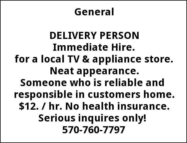 Delivery Person Needed