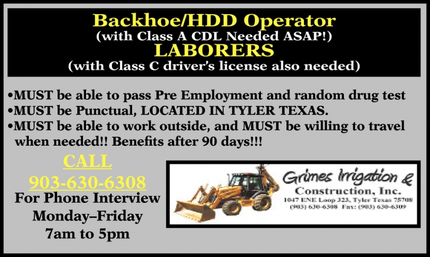 Backhoe/HDD Operator  - Laborers