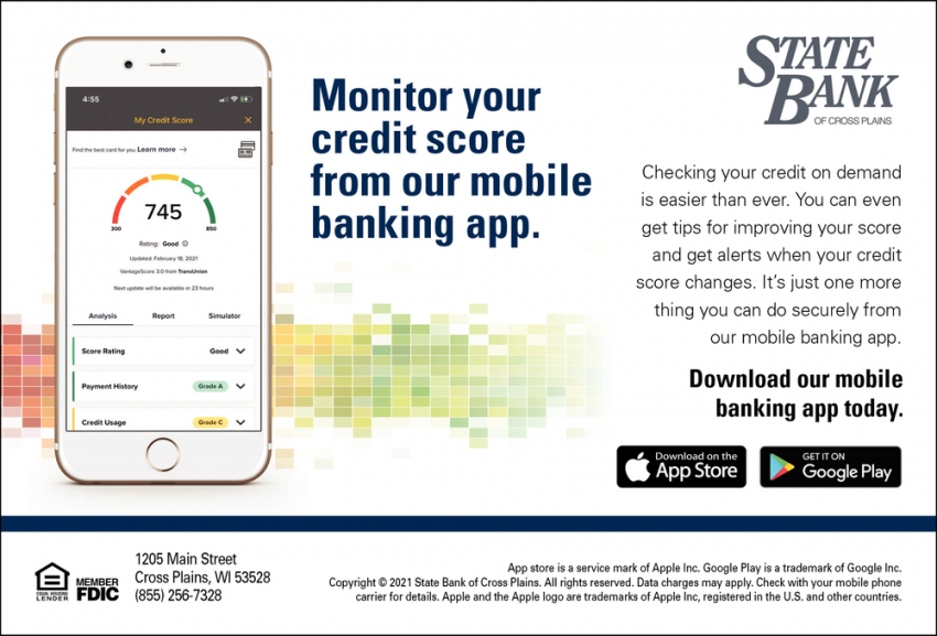 Monitor Your Credit Score from Our Mobile Banking App