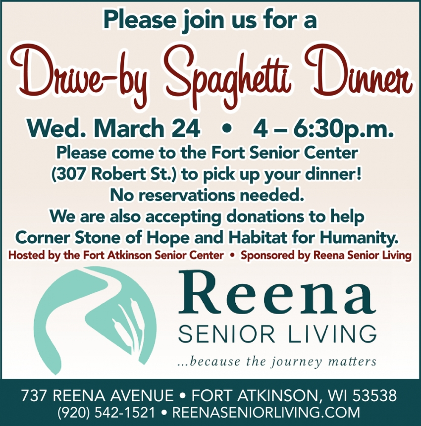 Please Join Us for a Drive-By Spaghetti Dinner