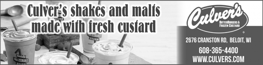 Culver's Shakes and Malts Made with Fresh Custard