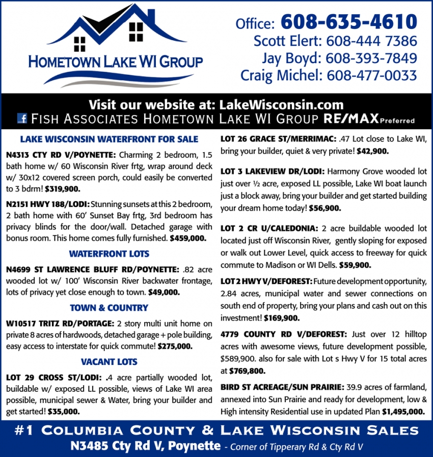 #1 Columbia County & Lake Wisconsin Sales