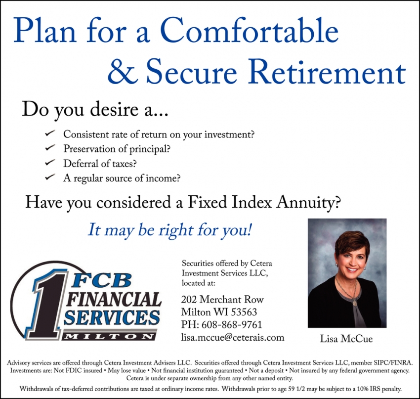 Plan for a Comfortable & Secure Retirement