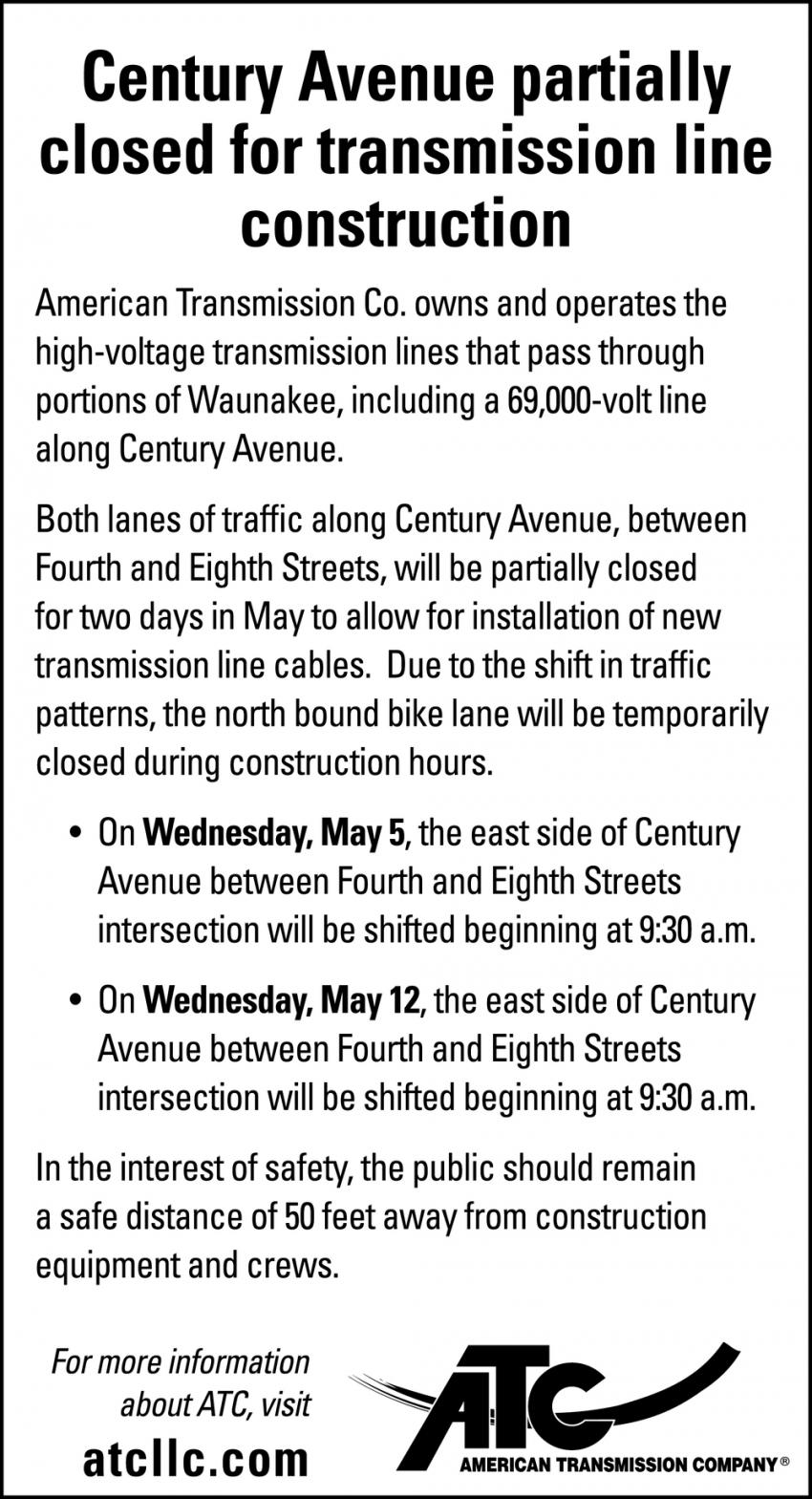 Century Avenue Partially Closed for Transmission Line Construction