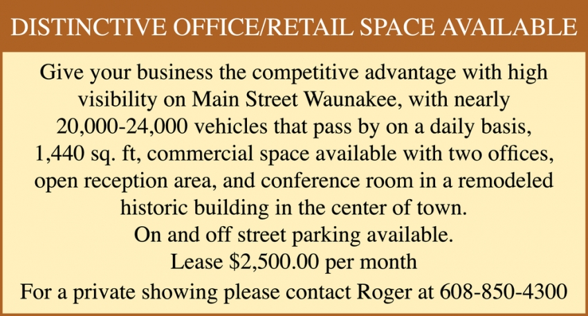 Distinctive Office / Retail Space Available