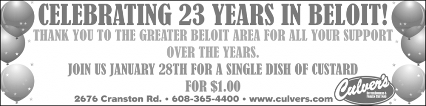 Celebrating 23 Years in Beloit!