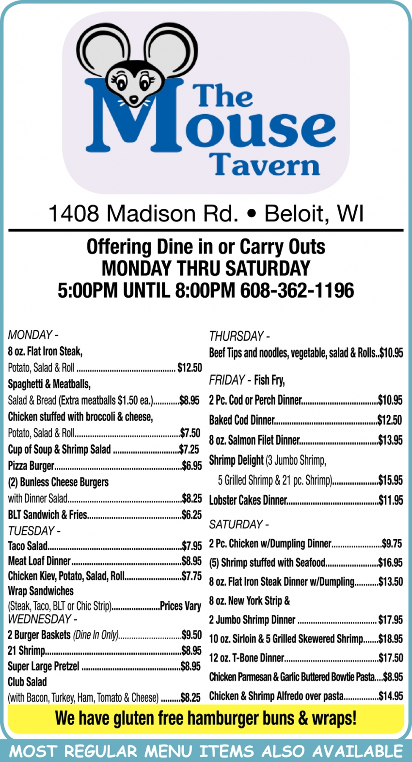 Dine In and Carry Out's Available
