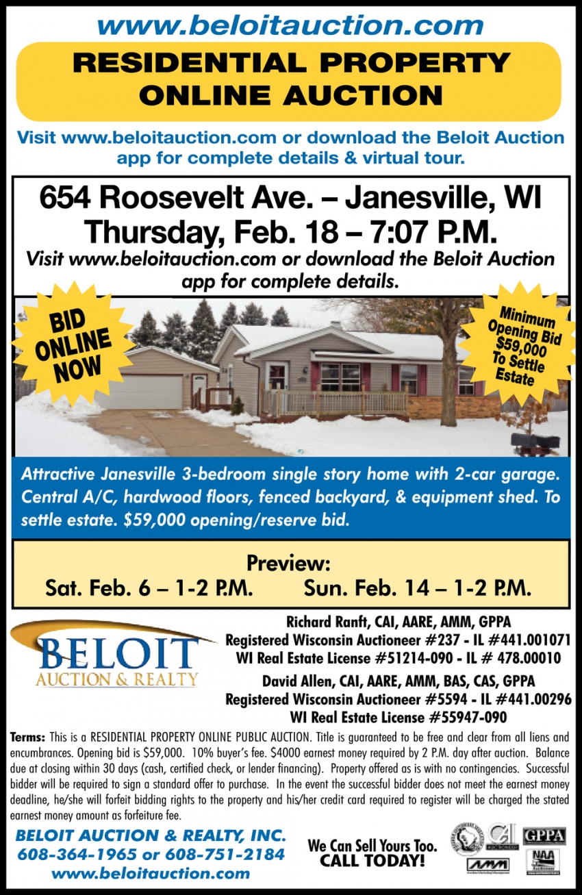 Residential Property Online Auction