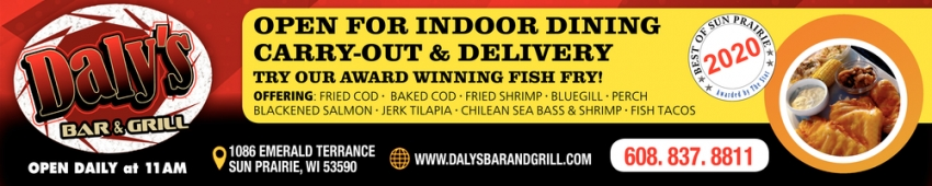Open for Indoor Dining Carry-Out & Delivery