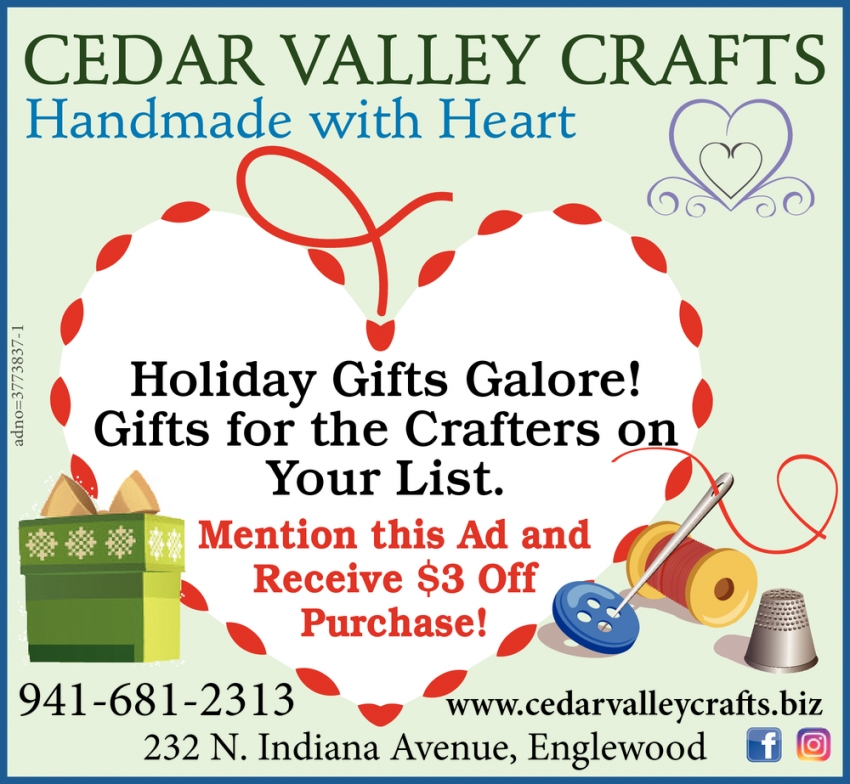 Holiday Gifts Galore, Cedar Valley Crafts, Englewood, FL