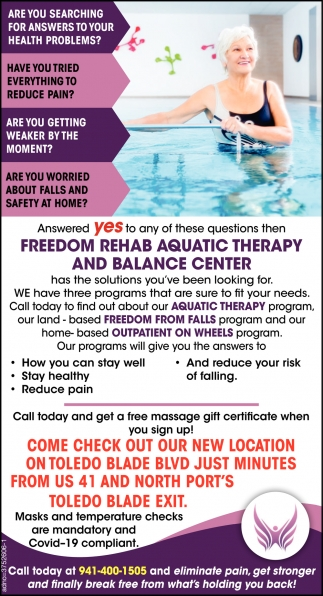 Call Today to Find Out About Our Aquatic therapy Program