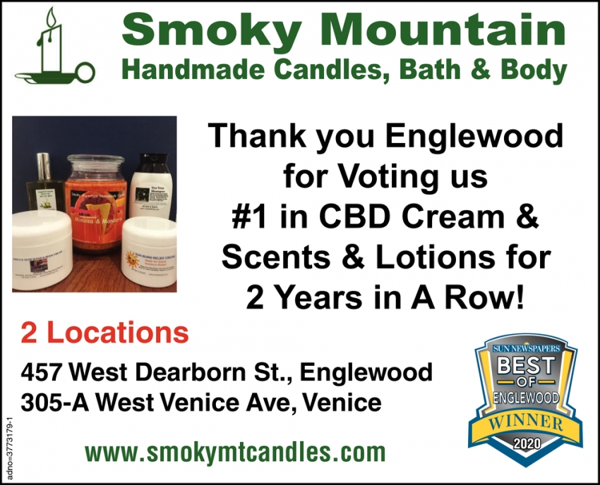 Thank You Englewood for Voting Us #1 in CBD Cream & Scents & Lotions for 2 Years in a Row!