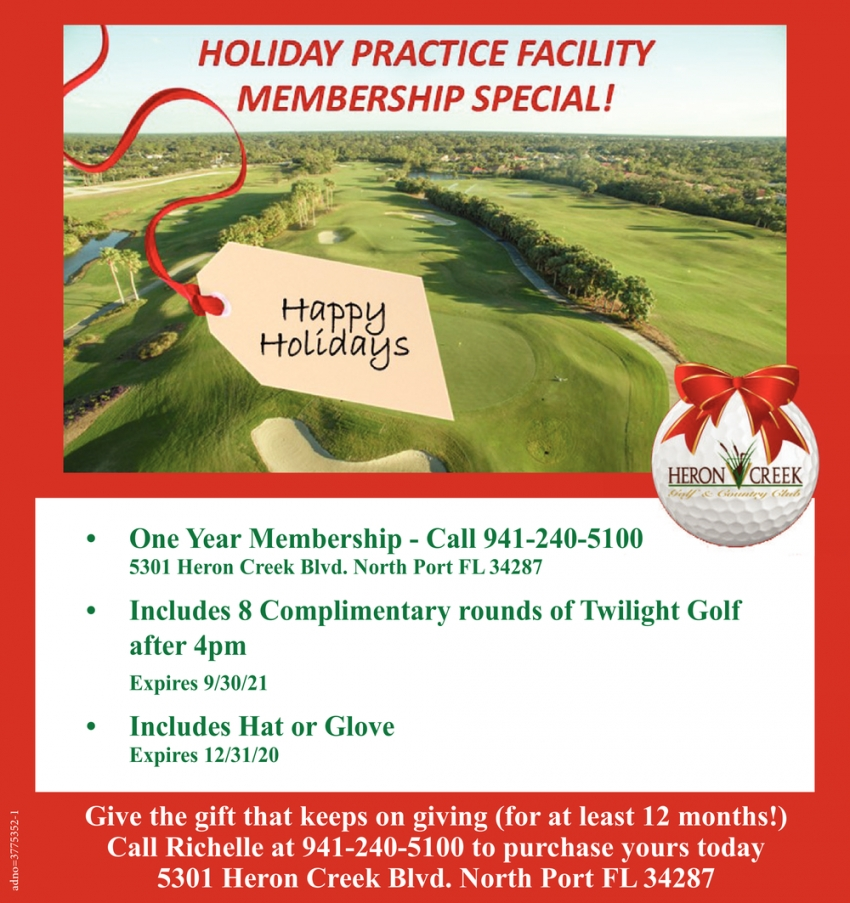 Holiday Practice Facility Membership Special!