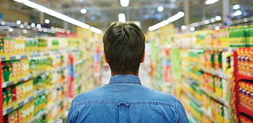 consumer in grocery store