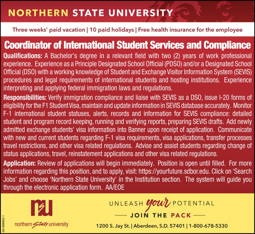 Coordinator of International Student Services and Compliance
