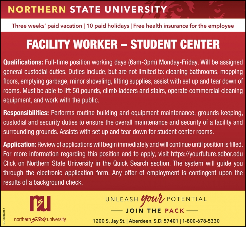 Facility Worker - Student Center